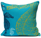 Aqua and Lime Seahorse Luxury Pillow