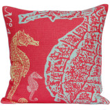 Coral-Pink Seahorse Luxury Pillow