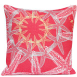 Coral-Pink Starfish Suzani Luxury Pillow