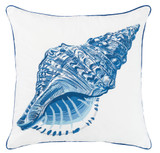 Blue Conch Shell Outdoor Sunbrella® Pillow