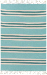 Mint and Teal Harbor Striped Throw overview