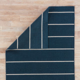 Coastal Shores Navy Blue Striped Wool Rug reverse side