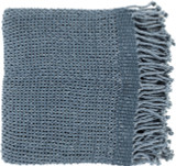 Tibey Knit Sea Blue Fringe Throw