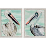 Turquoise Pelicans Set of Two
