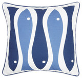 Sardinia Blue and White Four Fish Pillow