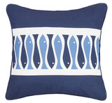 Sardinia Striped Blue and White Fish Pillow