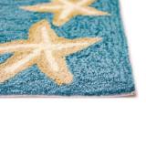 Capri Starfish Border Aqua Rug pile close up image