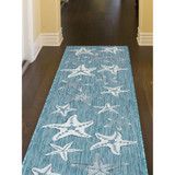 Aqua Carmel Starfish Rug hallway with runner size