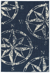 Navy Compass Rose Indoor-Outdoor Area Rug