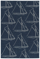 Sail Away Navy Blue Indoor-Outdoor Area Rug