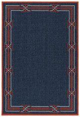 Navy Maritime Border Indoor-Outdoor Rug