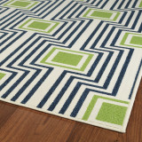 Boardwalk Navy and Green Indoor-Outdoor Rug corner close up