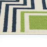 Boardwalk Navy and Green Indoor-Outdoor Rug edge close up