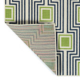 Boardwalk Navy and Green Indoor-Outdoor Rug back image