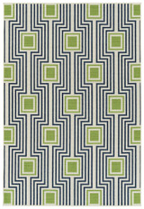 Boardwalk Navy and Green Indoor-Outdoor Rug main image