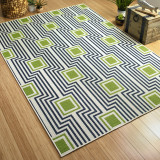 Boardwalk Navy and Green Indoor-Outdoor Rug floor image
