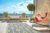 Boardwalk Navy and Green Indoor-Outdoor Rug room view