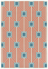 Boardwalk Tangerine and Light Blue Indoor-Outdoor Rug main image