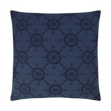Ships Wheel Embossed Luxury Pillow - Navy