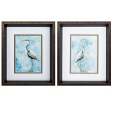 Hazy Morning Herons Wall Art - Set of Two