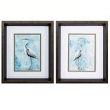 Hazy Morning Herons Wall Art - Set of Two