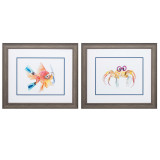 Fish and Crab Whimsy Art Set of Two