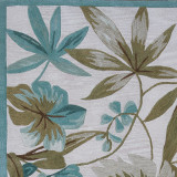Ivory and Turquoise Tropica Area Rug close up
