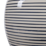 Sea Striped Navy and White Table Lamp close up 2