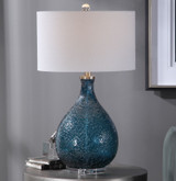 Cerulean Blue Seeded Glass Table Lamp room view