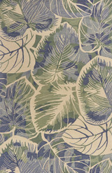 Blue-Green Palm Forest Wool Area Rug