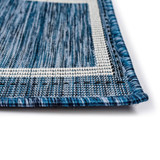 Navy Multi-Border Woven Rug pile close up