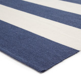 Remora Navy Blue Striped Rug corner