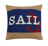 Sail Rope Burlap and Wool Hooked Pillow