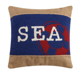 SEA Rope Burlap and Wool Hooked Pillow