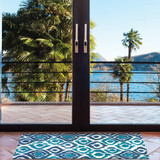 Blue and Turquoise Ikat Accent Rug room view 2