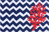 Chevron and Red Coral Accent Rug