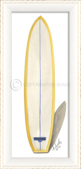 Blue and Yellow Travel Surfboard Art