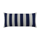 Classic Navy and White Cabana Striped Rectangle Outdoor Lux Pillow