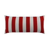 Classic Red and White Cabana Striped Rectangle Outdoor Lux Pillow