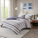 Colby Harbor Navy Stripe Queen Duvet Set room 2