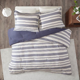 Colby Harbor Navy Stripe King Duvet Set overhead view