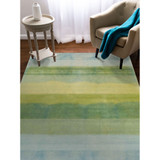 Textured Stripes Sea Breeze Wool Area Rug room view 1