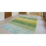 Textured Stripes Sea Breeze Wool Area Rug room view 2