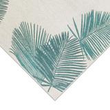 Aqua Carmel Tropical Palm Rug corner 2