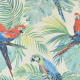Macaw and Palms Pillow fabric close up