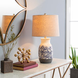 Octavia Blue Coral Painted Table Lamp room view
