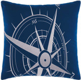Embellished Navy and White Compass Throw Pillow front