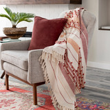 San Onofre Red and Orange Woven Throw room view