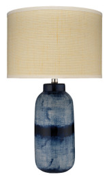 Large Batik Table Lamp in Indigo Ceramic