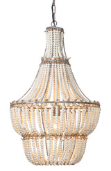 Blanca Seaside Boho Chandelier lit
